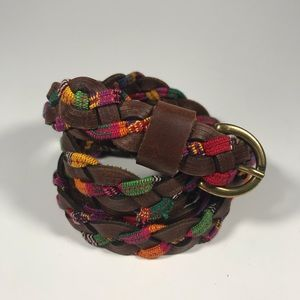 Colorful Boho Hippie Woven Leather Belt